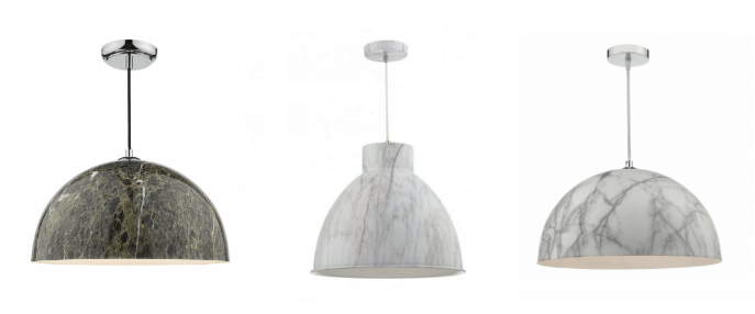 Our range of marble effect pendant lights from dar lighting would look impressive in hallways or kitchens as a subtle way to incorporate this trend into