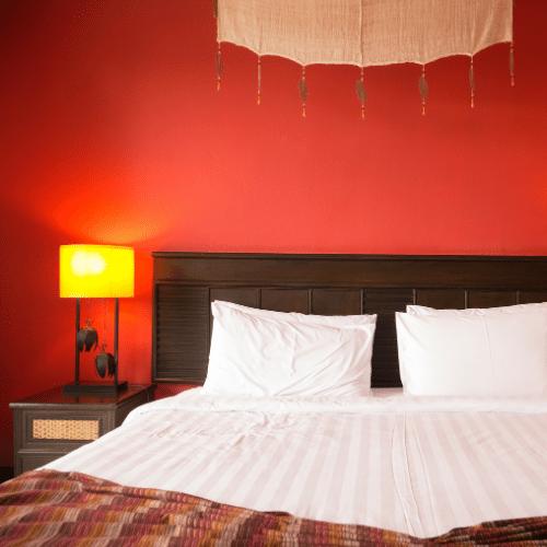 Red bedroom lighting