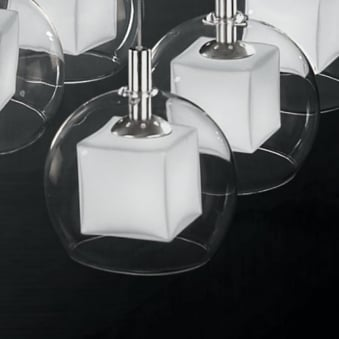 **EX-DISPLAY**Glass Ball Pendant with Inner Glass Cube