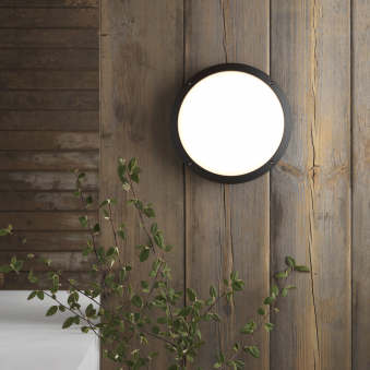 Arta LED Round Exterior Light in Black