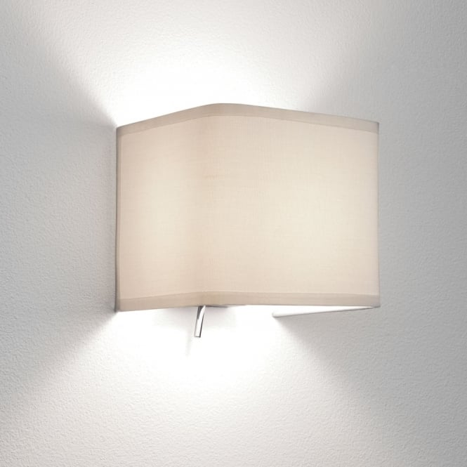 Astro Ashino White Fabric Switched Wall Light