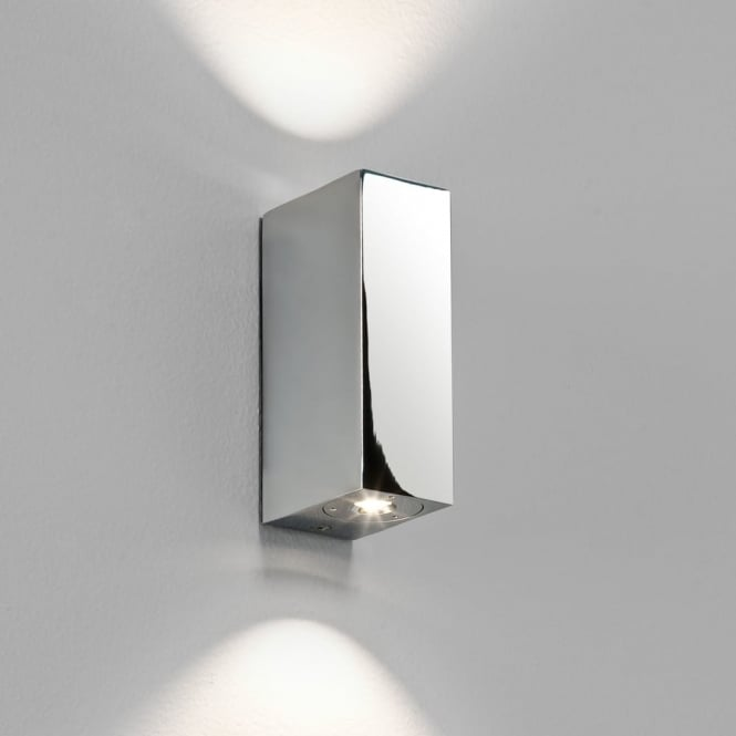 Astro Bloc LED IP44 Wall Light in Polished Chrome