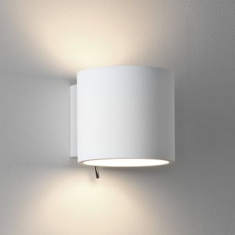 Brenta Switched Wall Light in White Plaster