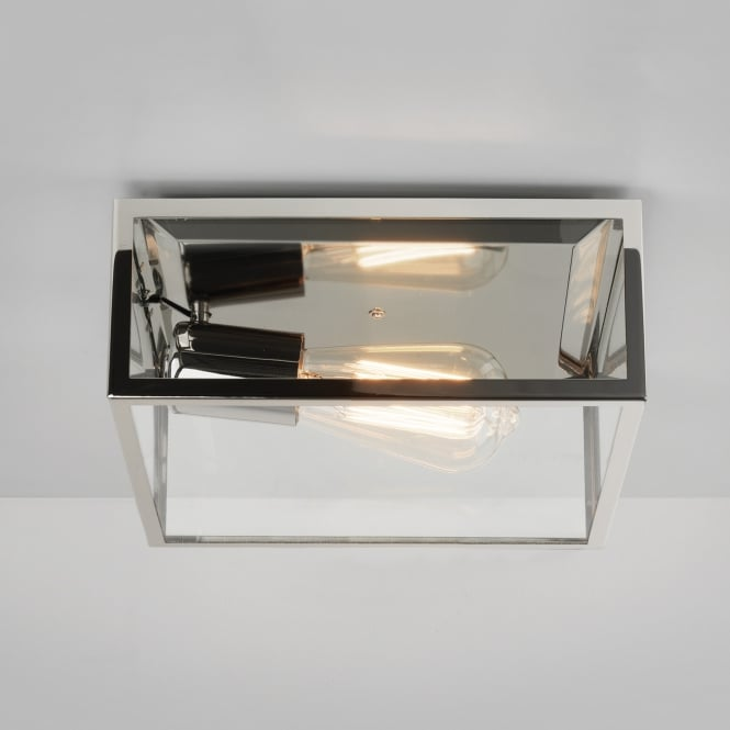 Astro Bronte Ceiling Light in Polished Nickel with Clear Glass