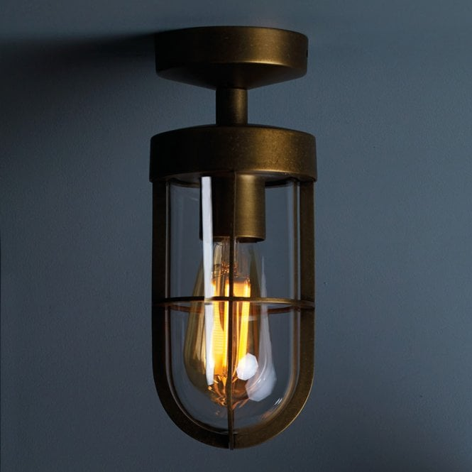 Astro Lighting 7851 Cabin Clear Glass Ip44 Ceiling Light In Bronze