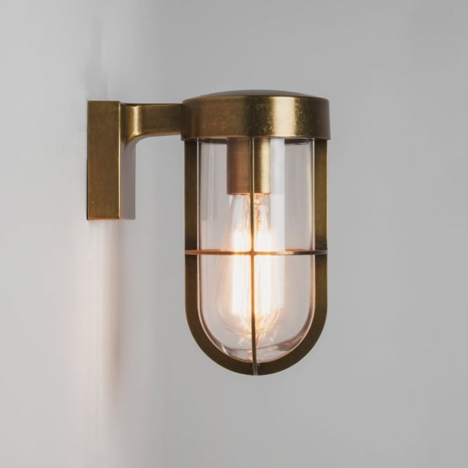 Astro Cabin Exterior Wall Light in Antique Brass and Clear Glass