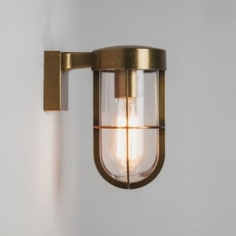 Cabin Exterior Wall Light in Antique Brass and Clear Glass