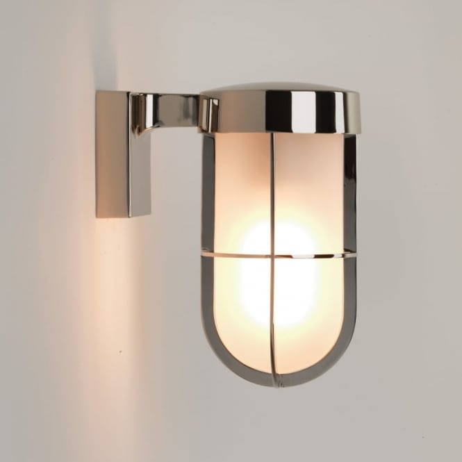 Astro Cabin Frosted Glass IP44 Wall Light in Polished Nickel