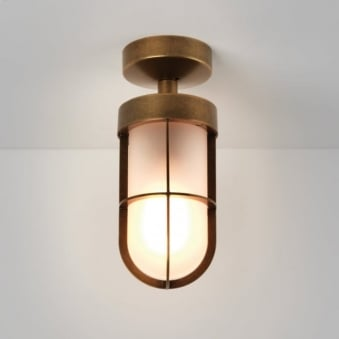 Cabin Frosted Glass Light in Antique Brass