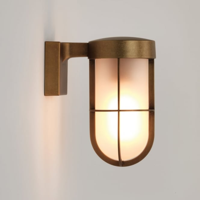Astro Cabin Frosted Glass Wall Light in Antique Brass