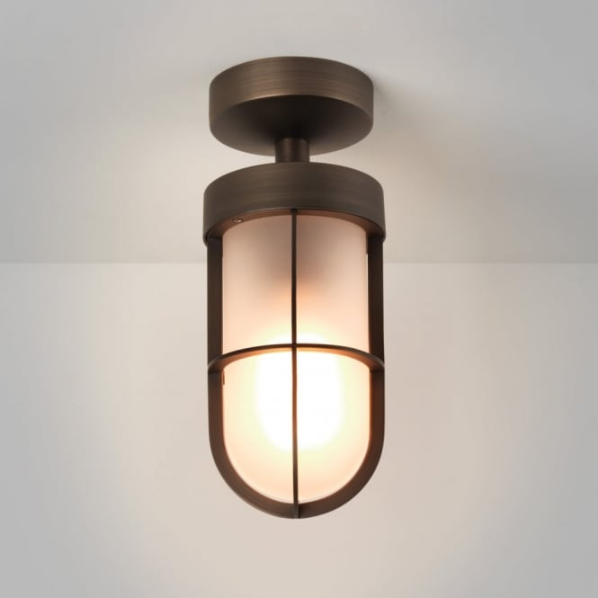 Astro Cabin IP44 Frosted Glass Ceiling Light in Bronze