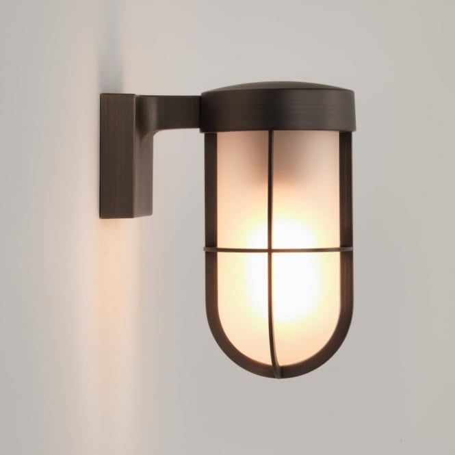Astro Cabin IP44 Frosted Glass Wall Light in Bronze