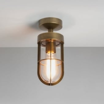Cabin Semi Flush Exterior Light in Antique Brass