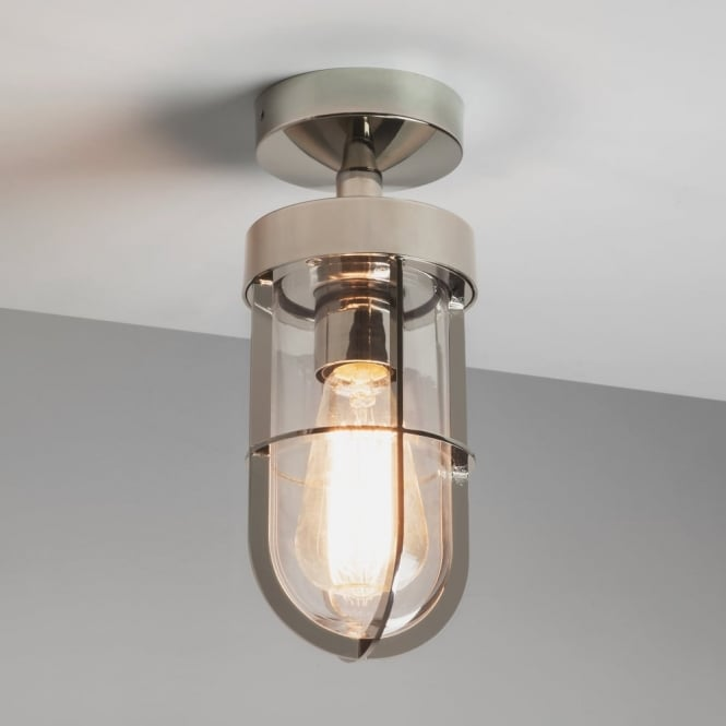 Astro Cabin Semi Flush Exterior Light in Polished Nickel