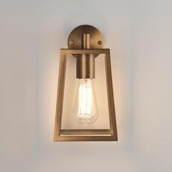 Calvi Wall 215 Lantern Exterior Wall Light in Antique Brass