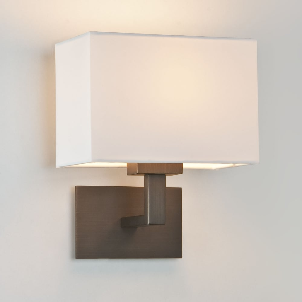 Astro lighting 0500 connaught wall light in bronze with cream shade connaught wall light in bronze with off white shade mozeypictures Image collections