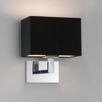Connaught Wall Light in Polished Chrome with Black Shade