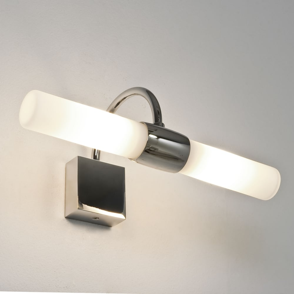 Astro dayton bathroom mirror light finished in polished chrome with frosted glass shade Polished chrome bathroom mirrors