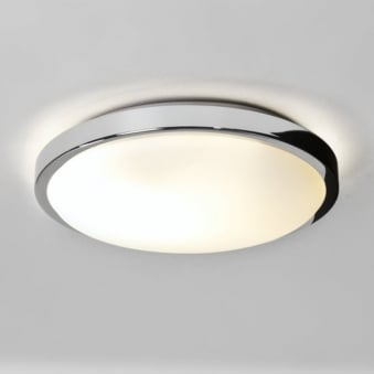 Denia Bathroom Ceiling Light with Polished Chrome Finish and White Opal Glass Diffuser