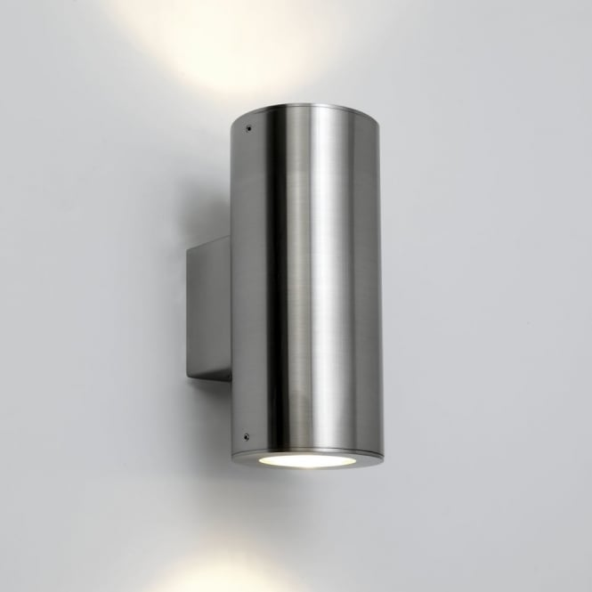 Astro Detroit Twin Exterior Light in Brushed Stainless Steel