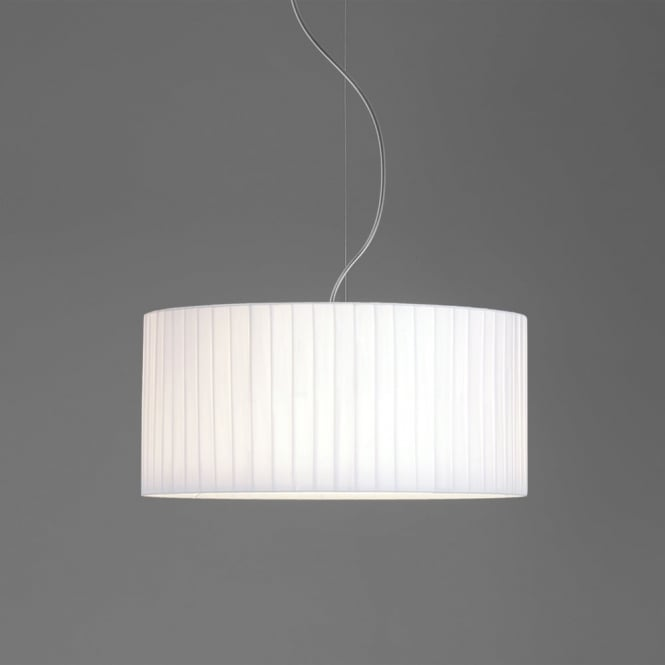 Astro Drum 500 Pleated Fabric Pendant Shade in White