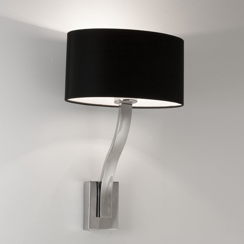 exdisplay sofia wall light in chrome and oval shade in
