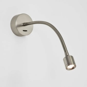 Fosso Switched LED Reading Wall Light in Matt Nickel