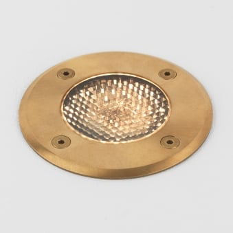 Gramos Round Coastal Exterior Ground Light in Natural Brass