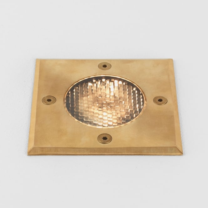 Astro Gramos Square Coastal Exterior Ground Light in Natural Brass
