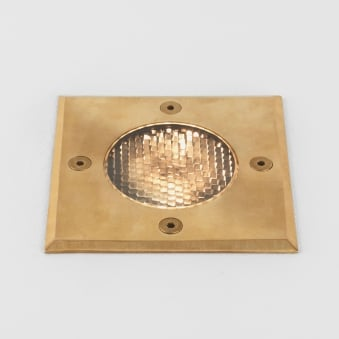 Gramos Square Coastal Exterior Ground Light in Natural Brass