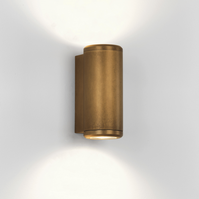 Astro Jura Twin Coastal Exterior Brass Wall Light