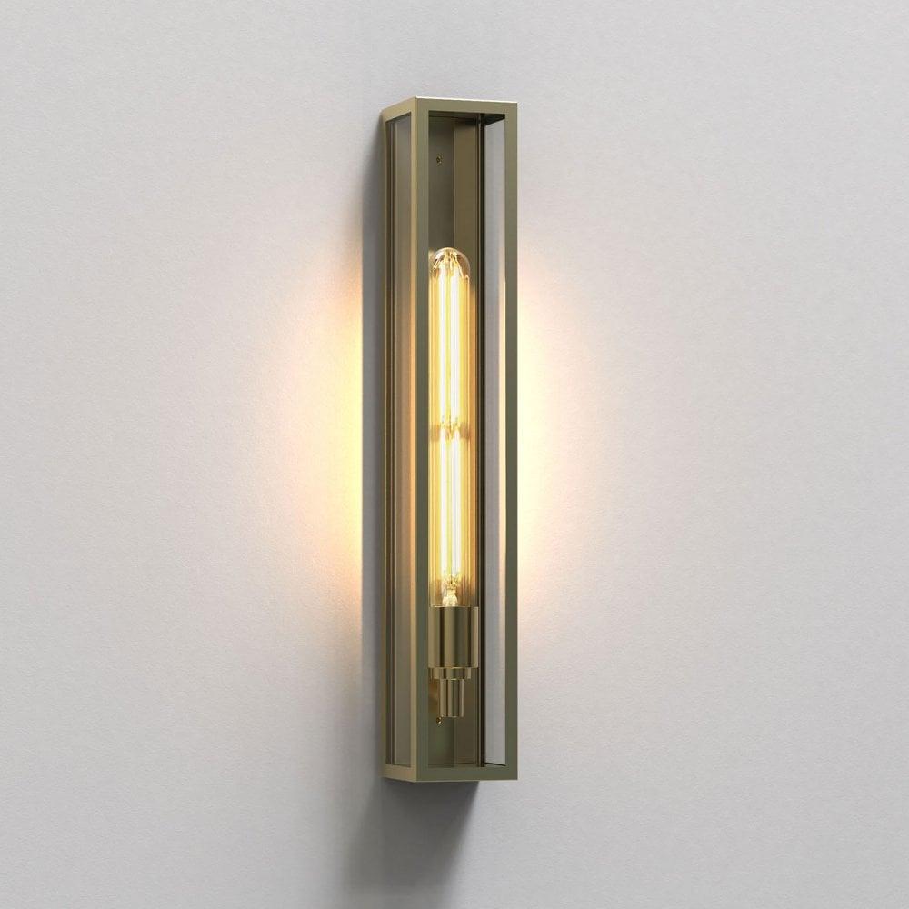 Astro Harvard 500 Exterior Ip44 Wall Light In Natural Brass