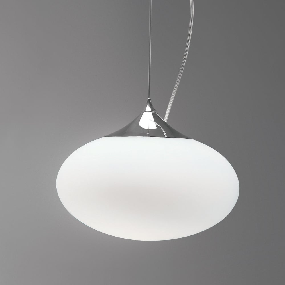 Astro 0965 Zeppo 300 Pendant In Polished Chrome And White Opal Glass
