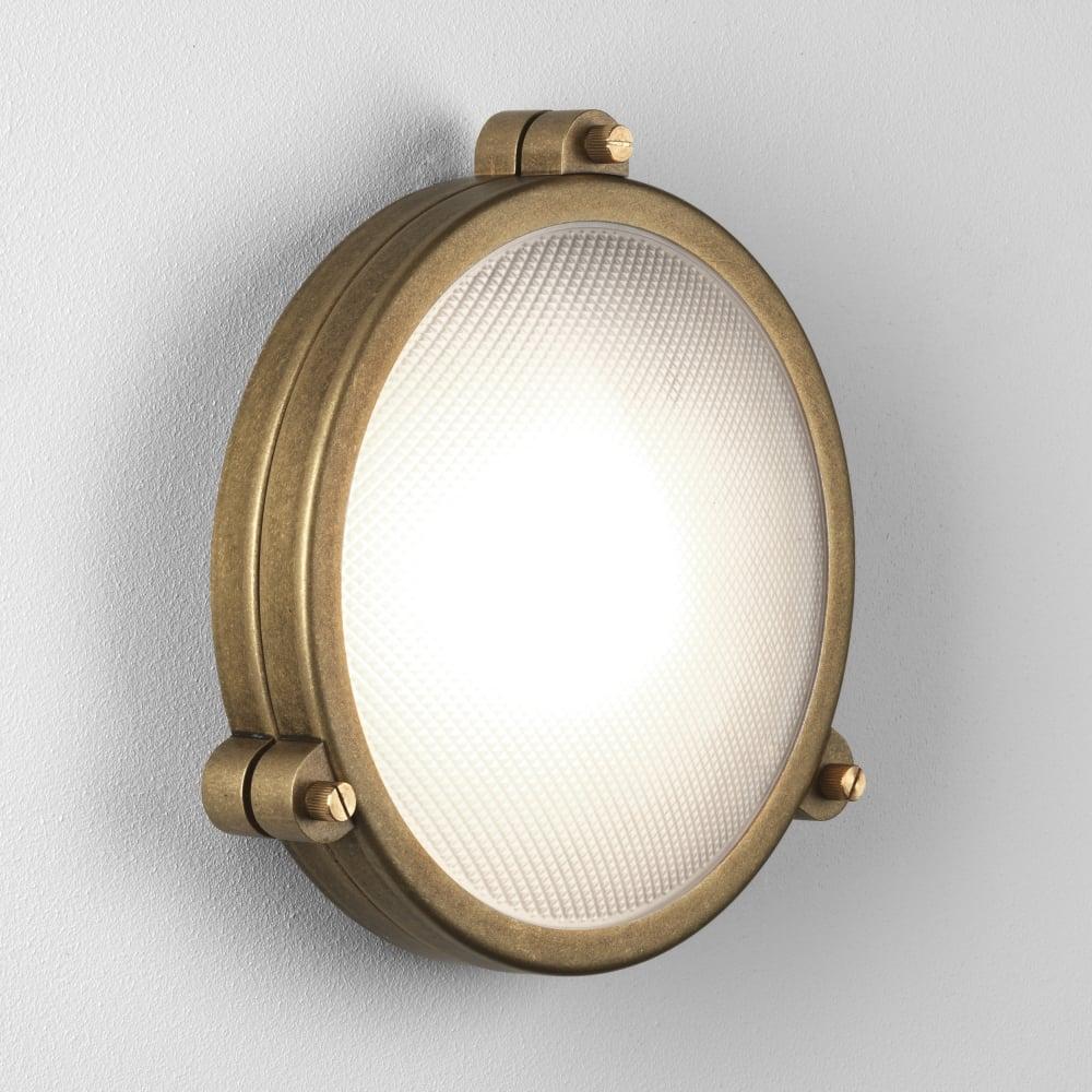 Astro 7969 malibu round coastal exterior ip65 brass wall light for Round exterior lights