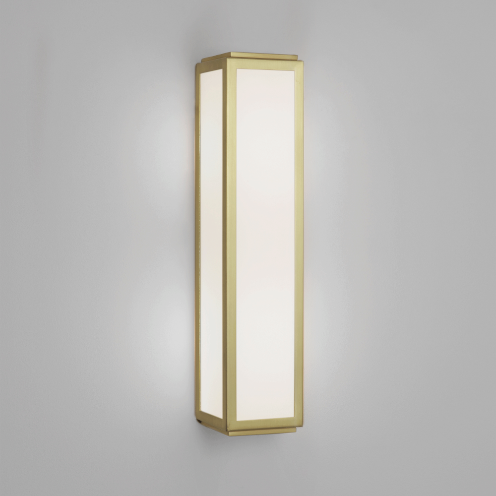 Mashiko 360 Bathroom Wall Light In Matt Gold And White Frosted Glass