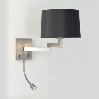 Momo LED Swing Arm Switched Wall Light in Matt Nickel