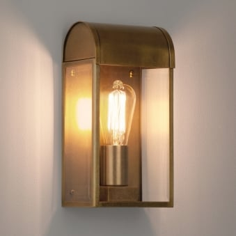 Newbury Exterior IP44 Wall Light in Antique Brass