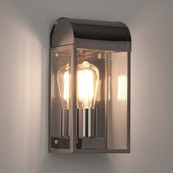 Newbury Exterior IP44 Wall Light in Polished Nickel