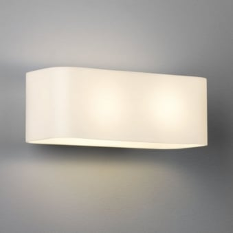 Obround White Glass Wall Light