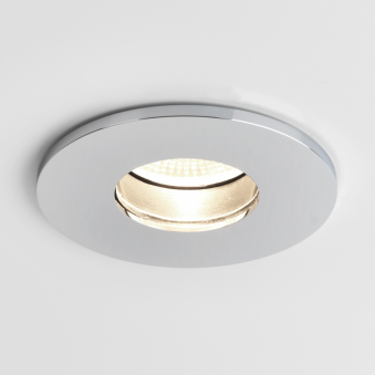 Obscura Round IP65 LED Bathroom Downlight in Polished Chrome