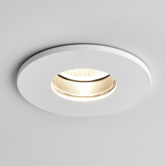 Obscura Round IP65 LED Bathroom Downlight in White
