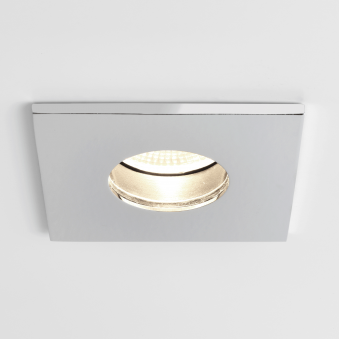 Obscura Square IP65 LED Bathroom Downlight in Polished Chrome