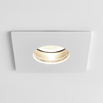 Obscura Square IP65 LED Bathroom Downlight in White