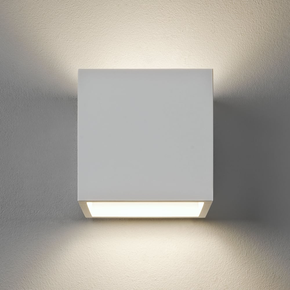 Indoor Wall String Lights : Astro Lighting 0917 Pienza Square Wall Light in White Plaster