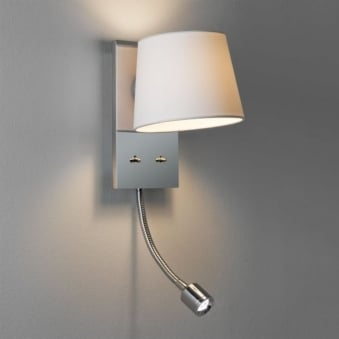 Sala LED Chrome Reading Wall Light with White Shade