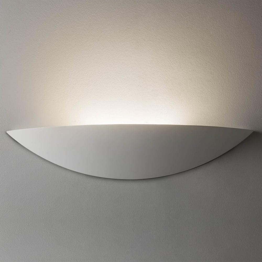 slice led wall light in a white plaster finish