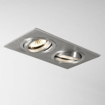 Taro Twin GU10 Adjustable Downlight in Brushed Aluminium
