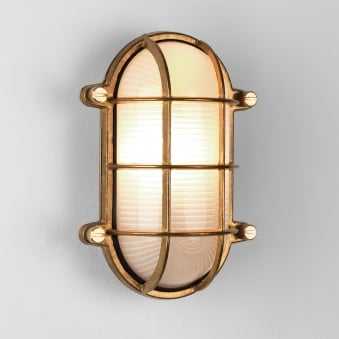 Thurso Oval Coastal IP44 Exterior Brass Wall Light