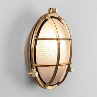 Thurso Round Coastal Exterior IP44 Brass Wall Light
