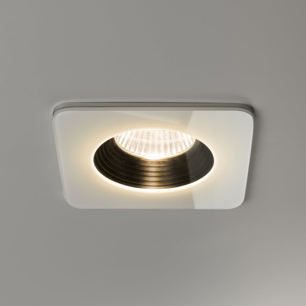 Vetro led ip65 square white fire rated bathroom downlight